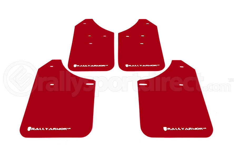 Rally Armor UR Mudflaps Red Urethane White Logo ( Part Number:RAL MF1-UR-RD/WH)