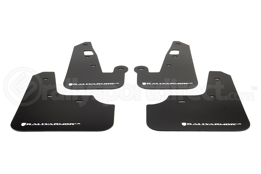 Rally Armor UR Mudflaps Black Urethane White Logo ( Part Number:RAL MF8-UR-BLK/WH)