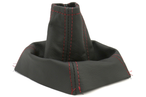 AutoStyled Black Leather Shift Boot w/ Red Stitching Standard Shifter (Part Number: )