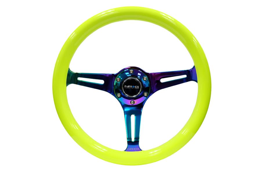 NRG Classic Wood Grain Wheel 350mm Neochrome / Neon Yellow - Universal