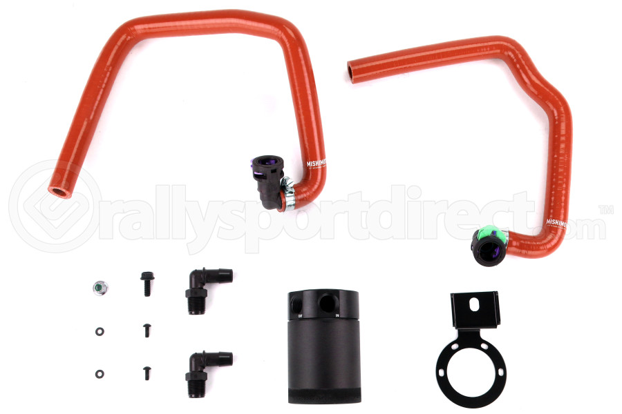 Mishimoto Baffled Oil Catch Can PCV Side Black w/ Red Hose (Part Number:MMBCC-MUS4-15PRD)