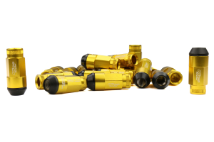 KICS Leggdura Racing Shell Type Lug Nut Set 53mm Open-End Look 12X1.25 Gold - Universal