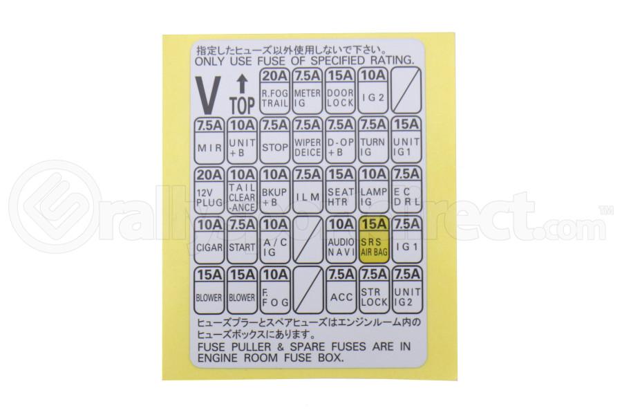 Subaru Fuse Box Label - Subaru WRX / STI 2015