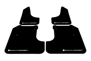 Rally Armor UR Mudflaps Black Urethane White Logo ( Part Number:RAL MF6-UR-BLK/WH)