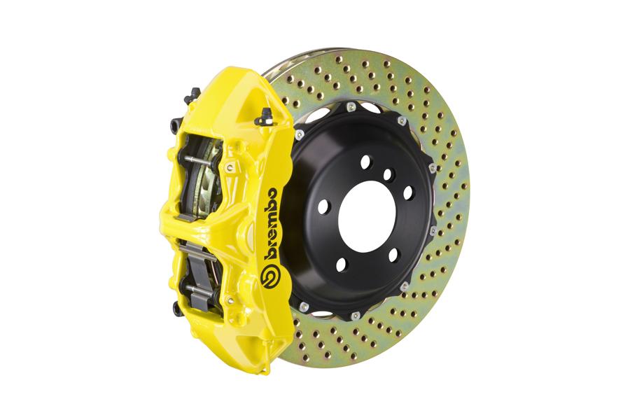 Brembo GT System 6 Piston Front Brake Kit Yellow Drilled Rotors - Volkswagen Models (inc. 2015+ GTI)