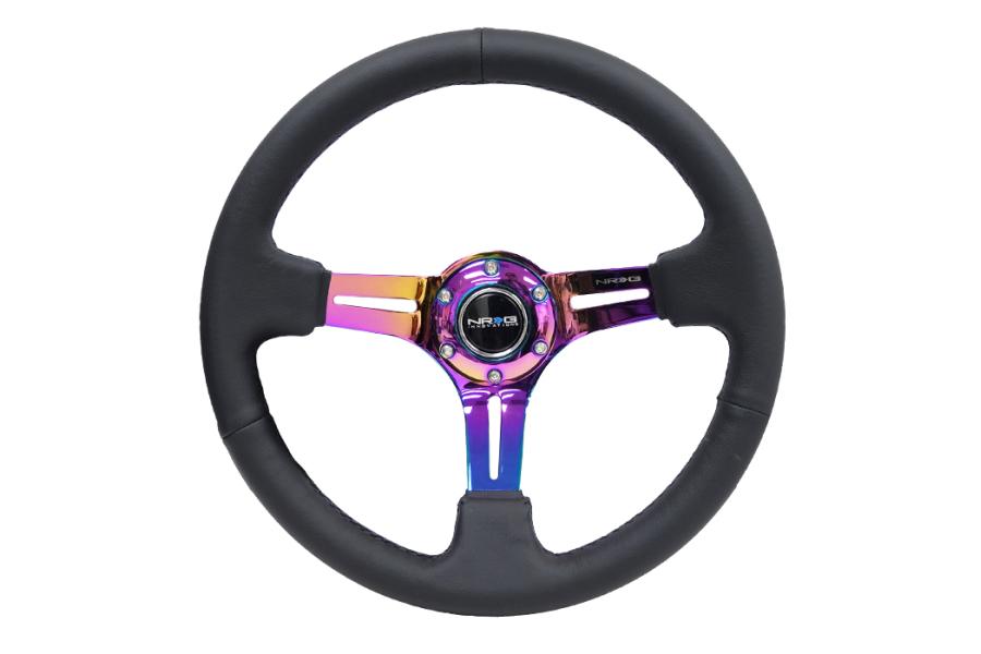 NRG Reinforced Steering Wheel 350mm 3in Deep Slotted Neochrome - Universal