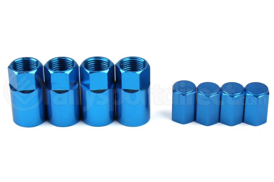 Wheelmate Valve Caps w/ TPMS Valve Step Sleeves Blue - Universal