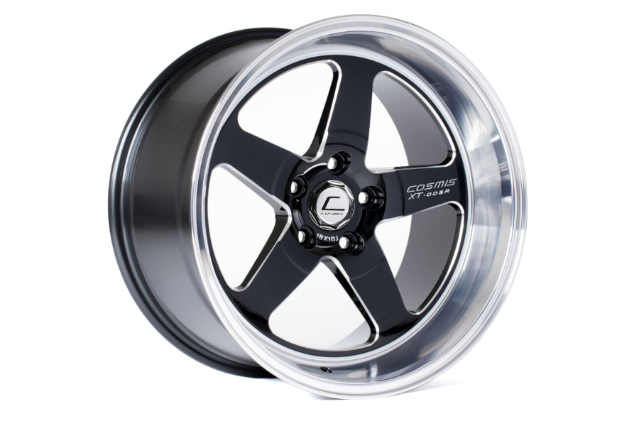 Cosmis Racing Wheels XT-005R 18x10 +20 5x120 Black w/ Machined Lip - Universal