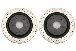 DBA 4000 Series Drilled and Slotted Rotor Pair Rear - Ford Mustang EcoBoost/GT 2015+ (w/o Brembo Brakes)