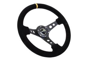 NRG Reinforced Steering Wheel 350mm 3in Deep Black Suede w/ Yellow Stripe - Universal