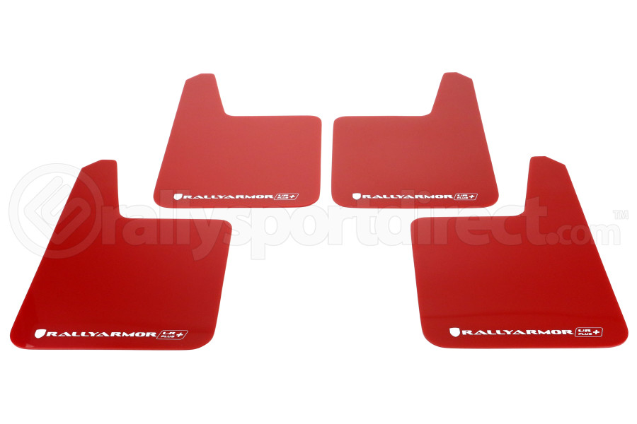 Rally Armor UR Plus Universal Mud Flaps Red w/White Logo ( Part Number:RAL MF20-URP-RD/WH)