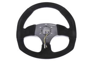 NRG Reinforced Steering Wheel Flat Bottom Suede Black - Universal