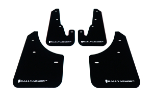 Rally Armor UR Mudflaps Black Urethane White Logo ( Part Number: MF9-UR-BLK/WH)