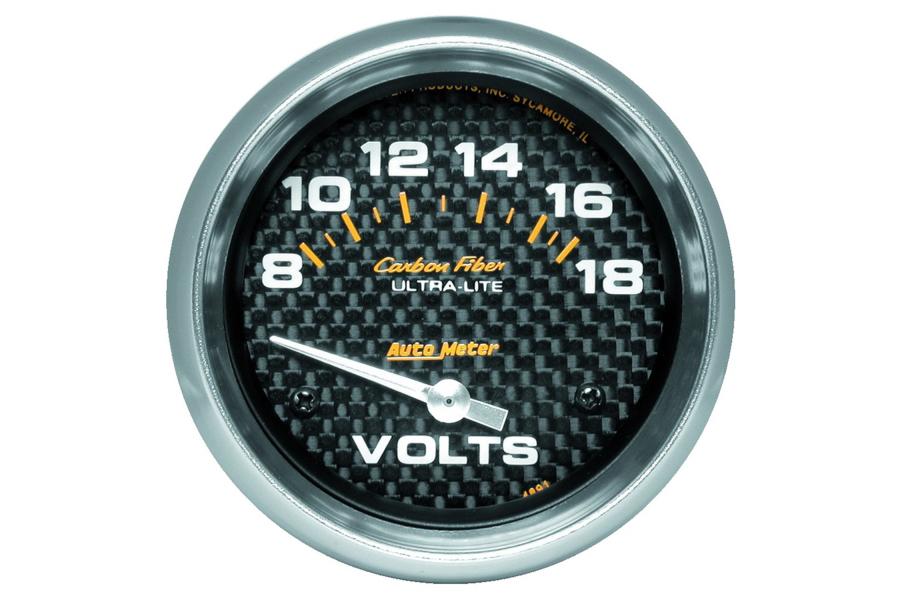 Autometer Carbon Fiber Voltmeter Gauge 2-5/8in - Universal