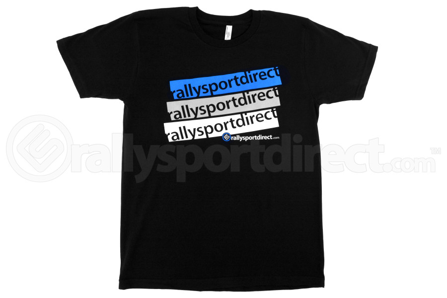 RallySport Direct Stacked T-Shirt Black Mens (Part Number:334)