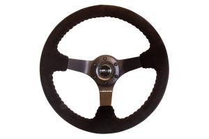 NRG Reinforced Steering Wheel Odi Signature 350mm Suede 3in Deep Black - Universal