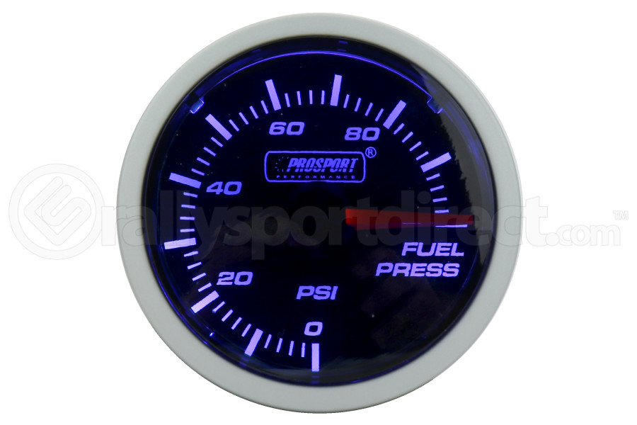 ProSport Fuel Pressure Gauge Electrical w/Sender Blue/White 52mm (Part Number:216BFWBFPSM.PSI)