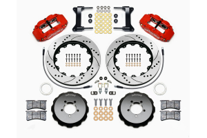 Wilwood FNSL6R 14in Front Kit Drilled / Slotted Red - Subaru Models (inc. 2002-2014 WRX / 2004+ STI)