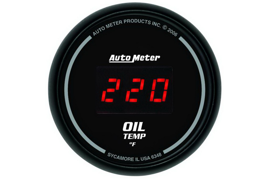 Autometer Sport-Comp Digital Oil Temperature Gauge Red LED 52mm - Universal