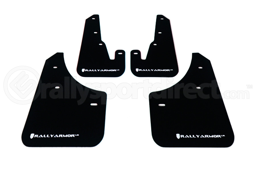 Rally Armor UR Mudflaps Black Urethane White Logo ( Part Number:RAL MF9-UR-BLK/WH)