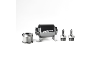 DeatschWerks In-Line Fuel Filter w/ Housing Kit and Barb Fittings - Subaru Models (inc. 1993-2005 Impreza / WRX)