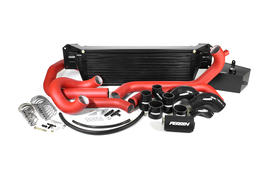 PERRIN Front Mount Intercooler Kit Red Piping/Black Core (Part Number:2 PSP-IP-438-BRB)
