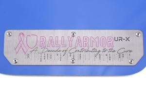 Rally Armor UR Mudflaps Breast Cancer Awarness Blue w/ Silver Emblem - Subaru WRX/STI 2015+