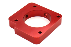 Torque Solution Throttle Body Spacer Red - Subaru Models (inc. 2004+ STI / 2004-2014 WRX)