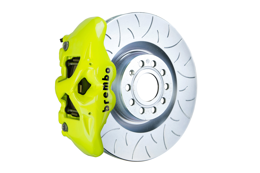 Brembo GT Systems Monobloc 4 Piston 345mm Type 3 Slotted Fluorescent Yellow - Volkswagen Models (Inc. 2015+ GTI / 2016+ Golf R)