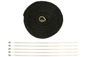 ProSport Fiberglass Heat Wrap 50ftx2in Roll w/5 Stainless Steel Zip Ties Black (Part Number: )