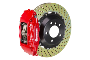 Brembo GT System 4 Piston Front Brake Kit Red Drilled Rotors - Volkswagen Models (inc. 2015+ GTI)