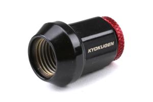 KICS Kyokugen Lug Nuts w/ Aluminum Cap 12x1.25 Black / Red - Universal