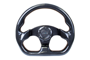 NRG Carbon Fiber Steering Wheel 320mm Flat Bottom Shiny Black - Universal