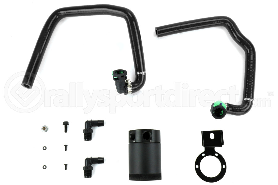 Mishimoto Baffled Oil Catch Can PCV Side Black w/ Black Hose (Part Number:MMBCC-MUS4-15PBK)