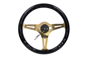 NRG Classic Wood Grain Wheel 350mm Chrome Gold / Black - Universal