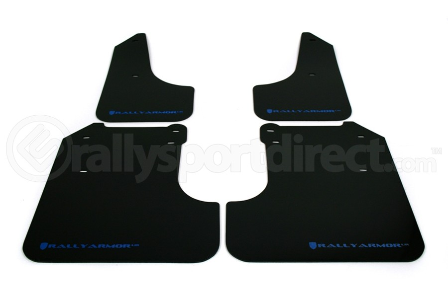 Rally Armor UR Mudflaps Black Urethane Blue Logo (Part Number:MF6-UR-BLK/BL)
