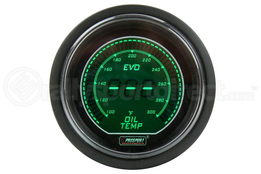 ProSport Digital Oil Temperature Electrical w/Sensor 52mm Green/White (Part Number:216EVOWGOT.F)