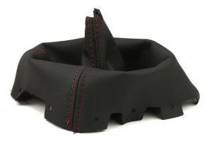 AutoStyled Black Leather Shift Boot w/ Red Stitching Short Shifter ( Part Number: 1304030101)