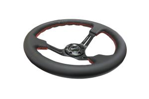NRG Reinforced Steering Wheel 350mm 3in Deep Slotted Black - Universal