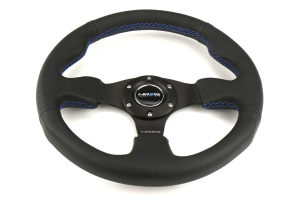 NRG Reinforced Steering Wheel 320mm Black w/ Blue Stitch - Universal