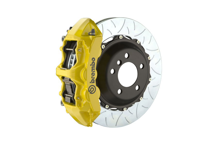 Brembo GT System 6 Piston Front Brake Kit Yellow Type 3 Slotted Rotors - Volkswagen Models (inc. 2015+ GTI)