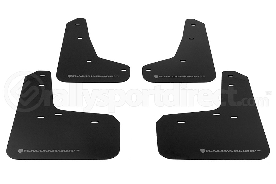Rally Armor UR Mudflaps Black Urethane Grey Logo (Part Number:MF27-UR-BLK/GRY)