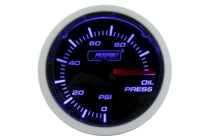 ProSport Oil Pressure Gauge Electrical w/Sender Blue/White 52mm ( Part Number:PRS 216BFWBOPSM.PSI)
