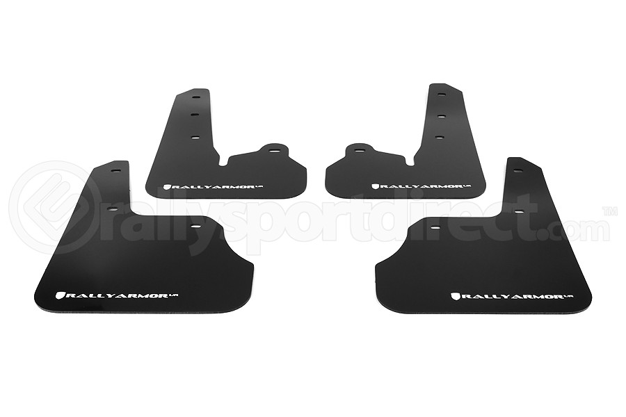 Rally Armor UR Mudflaps Black Urethane White Logo (Part Number:MF22-UR-BLK/WH)