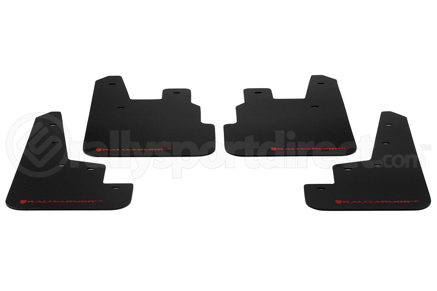 Rally Armor UR Mudflaps Black Urethane Red Logo ( Part Number:RAL MF28-UR-BLK/RD)