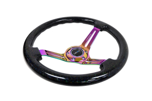 NRG Reinforced Classic Wood Grain Wheel 350mm Galaxy Sparkle Black / Neochrome - Universal