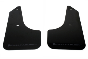 Rally Armor UR Mudflaps Black Urethane Grey Logo (Part Number: MF6-UR-BLK/GRY)