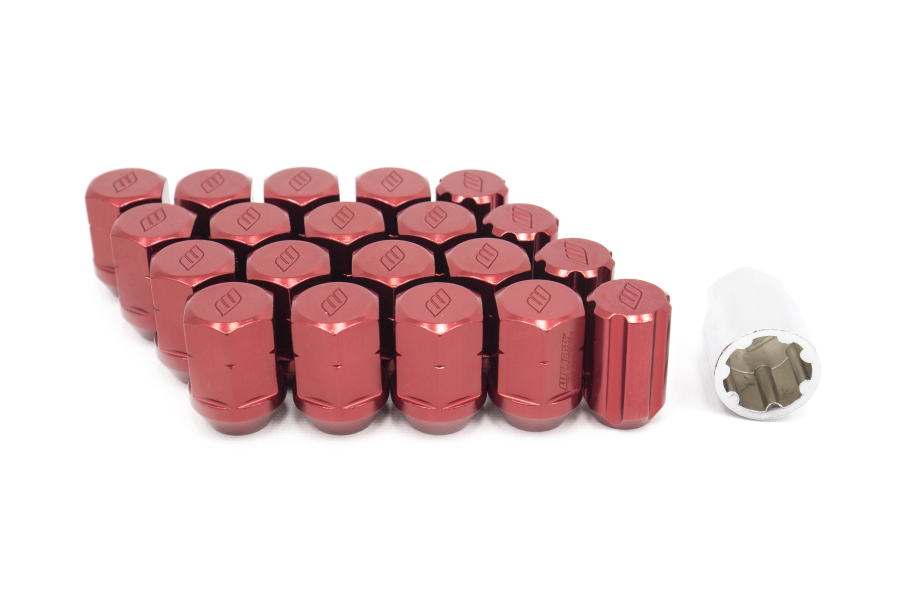 Work Wheels RS Lug Nut M12x1.25 Red Close End (Part Number:WRSM12X1.25RC)