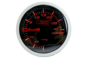 ProSport Boost Gauge Mechanical Amber/White 52mm ( Part Number: 216BFWABOSM.PSI)