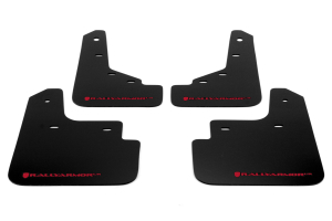 Rally Armor UR Mudflaps Black Urethane Red Logo (Part Number: MF31-UR-BLK/RD)